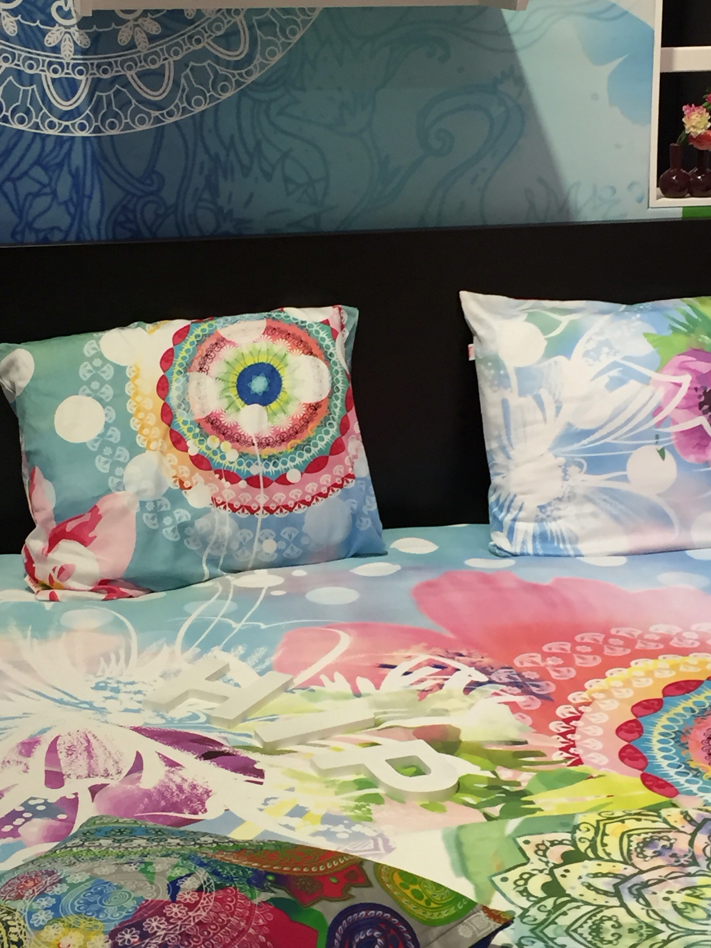 """february  – color chaos  creativity - muller textiles also stepped out of the box at heimtextil with this """"hip""""and updated bedding ensemble geared toward the melennial market"""